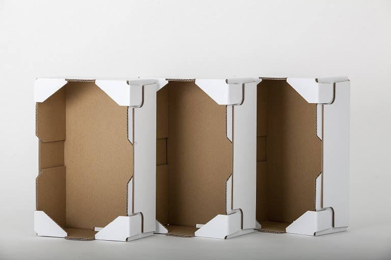 three carboard boxes